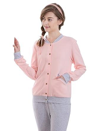 a406d332192c QIANXIU Women Comfortable Long-Sleeve Pajamas with Trousers Cute ...