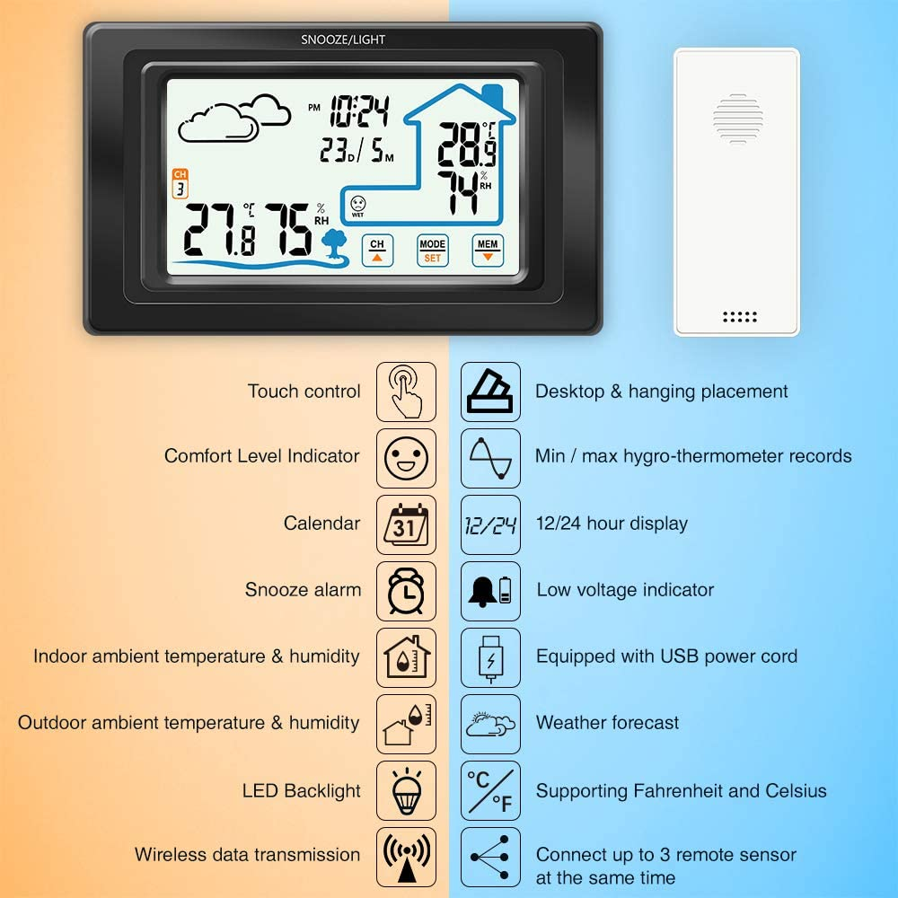 Control T/áctil Temperatura Digital Higr/ómetro Previsi/ón Meteorol/ógica Reloj//12//24H//Calendario//Previsi/ón meteorol/ógica//Alarma Despertador//Retroiluminac ALLOMN Estaci/ón Meteorol/ógica Inal/ámbrica