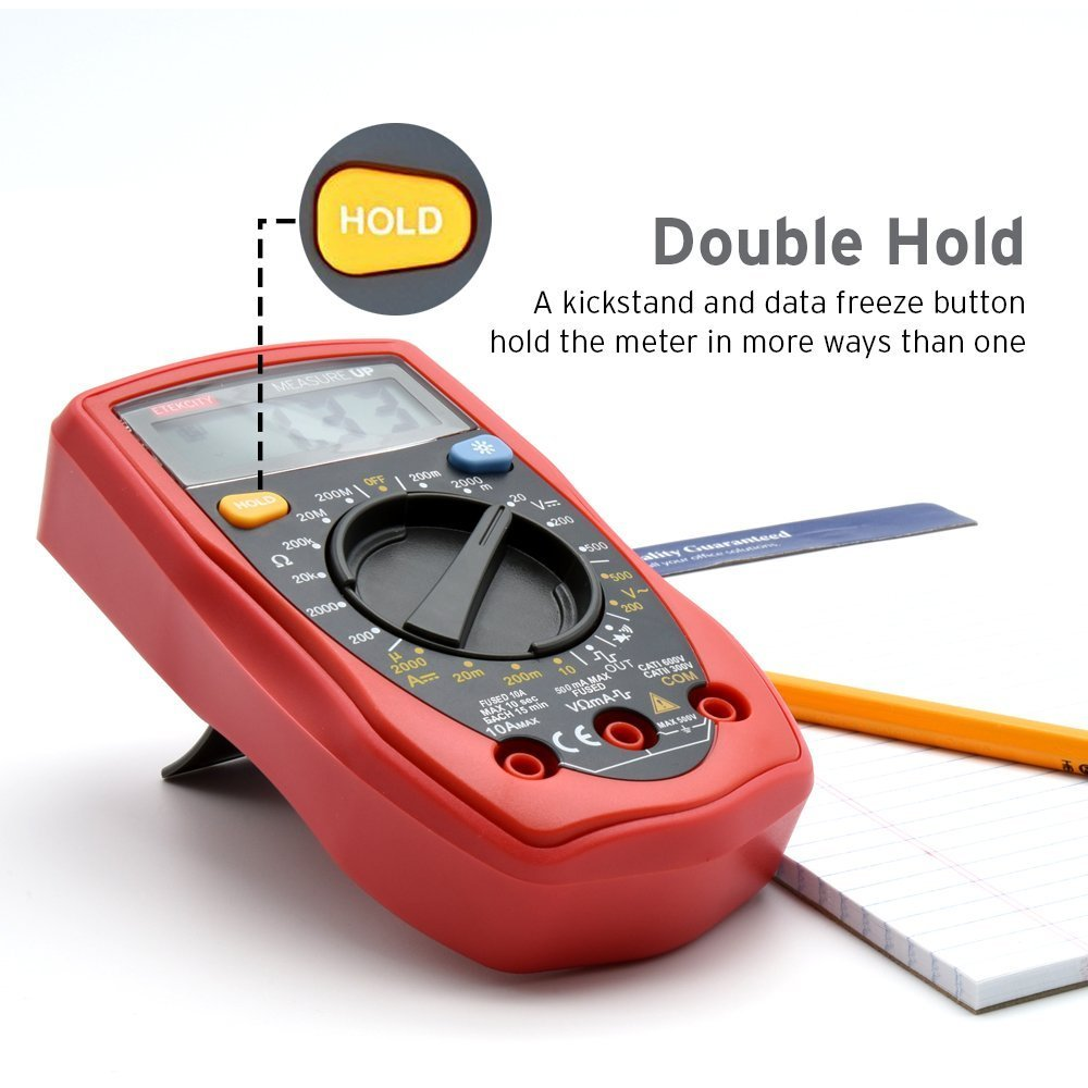 Rot-Schwarz Etekcity MSR-R500 Digital Multimeter Voltmeter Spannungsmesser Spannungspr/üfer Strommessger/ät Amperemeter Gleichstrom Gleich-und Wechselspannung Widerstand Durchgang messen mit Batterie und 2 Messleitungen