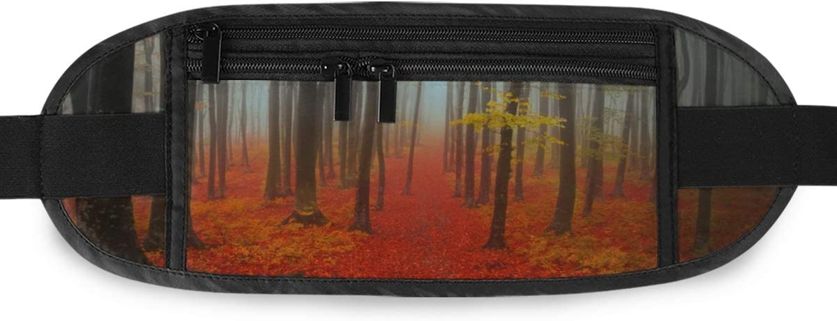 Autumn Day Into Forest Running Lumbar Pack For Travel Outdoor Sports Walking Travel Waist Pack,travel Pocket With Adjustable Belt