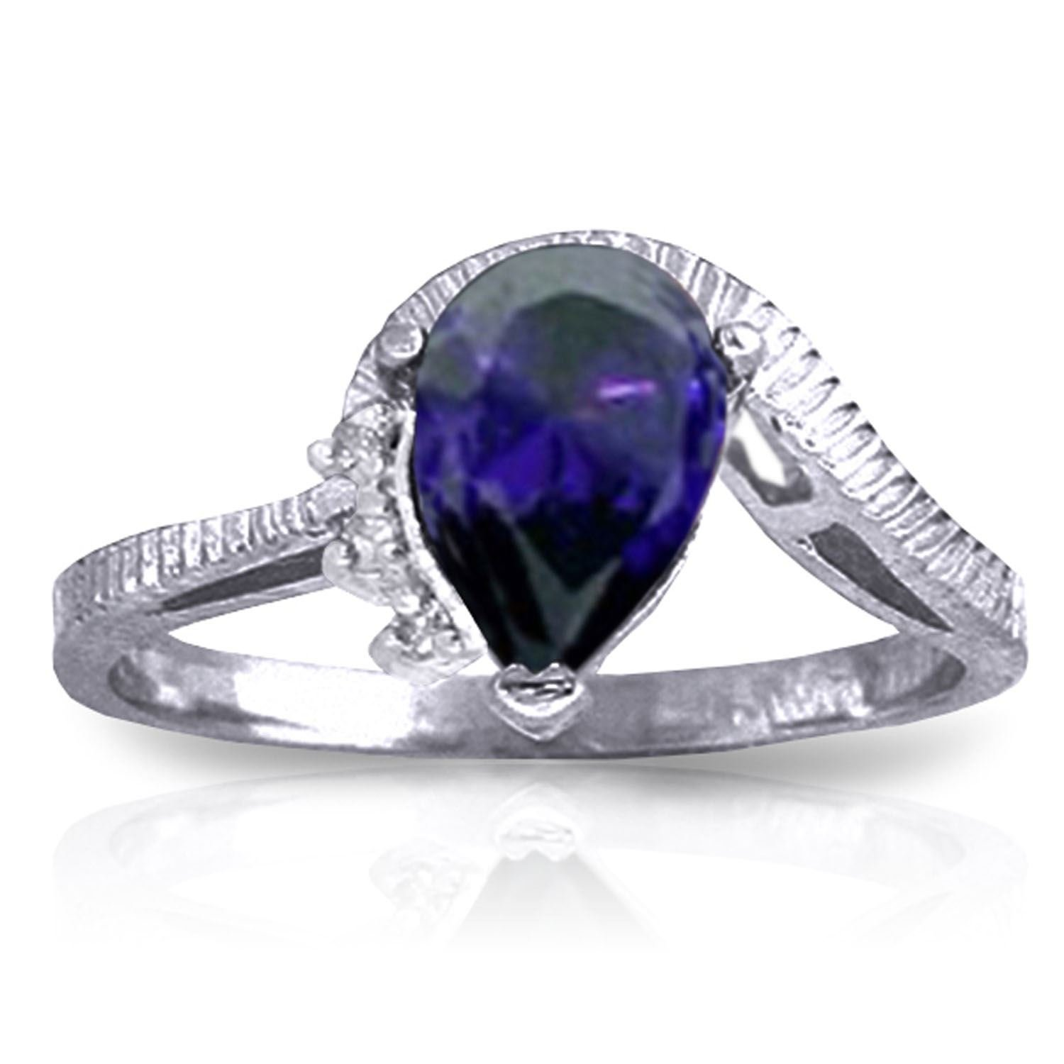 ALARRI 1.52 Carat 14K Solid White Gold Trust In Love Sapphire Diamond Ring With Ring Size 8.5