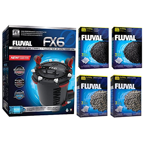 Fluval FX6 A219 Filter w/ Zeo-Carb, Carbon & Ammonia Remover 6mo by Fluval