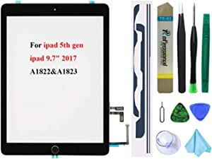 Black Touch Screen Replacement for iPad 5 2017 9.7 inch, A1822 A1823 Digitizer Glass Assembly with Home Button + Pre-Installed Adhesive + Tool kit