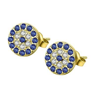 9294c1629 Round Blue Evil Eye Stud Earrings Sterling Silver 925 Eardrop Cubic Zirconia  Charms 6x6mm[Gold