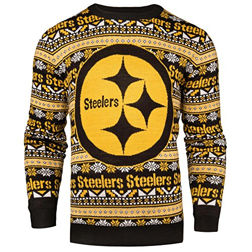 Forever Collectibles Aztec Print Ugly Crew Neck Sweater - Large - Pittsburgh Steelers
