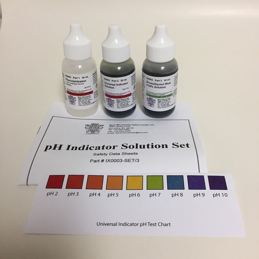 pH Indicator Set with Phenolphthalein, Universal Indicator ... for Universal Indicator Solution  557ylc