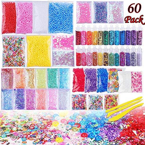 (Slime Supplies Kit - 60 Packs Slime Beads Charms Include Foam Balls, Fishbowl Beads, Glitter, Fruit Slices, Pearls, Slime Mylar Flake for Arts Crafts Ornament, Homemade SLI(60 Pack Supplies)