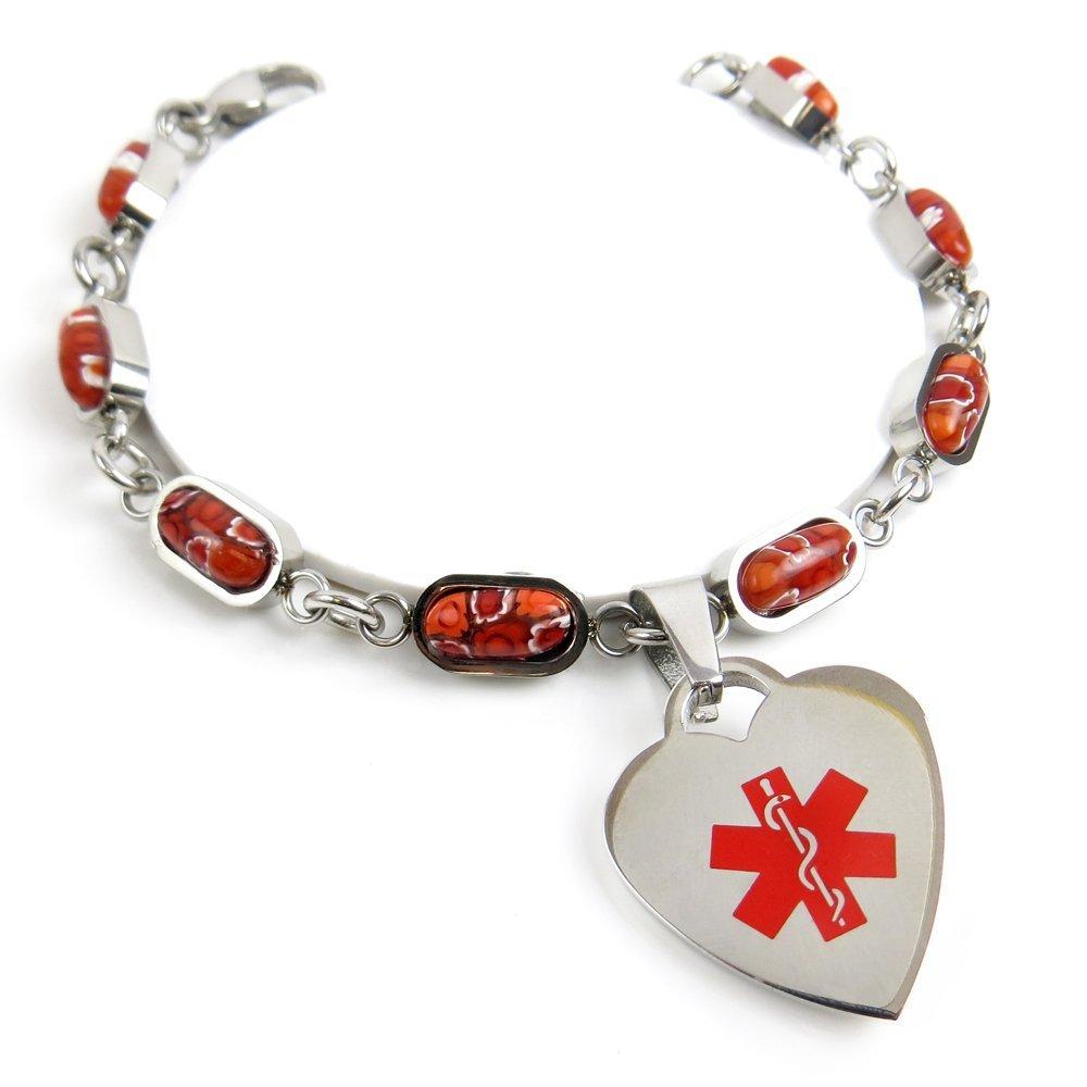 My Identity Doctor Custom Engraved Medical Bracelet, 316L Stainless Steel, Red Millefiori Glass.7cm