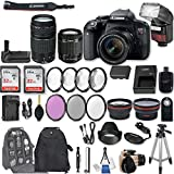 Canon EOS Rebel T7i DSLR Camera with EF-S 18-55mm f/4-5.6 IS STM Lens + EF 75-300mm f/4-5.6 III + 2Pcs 32GB Sandisk SD Memory + Automatic Flash + Battery Grip + Filter & Macro Kits + Backpack + More