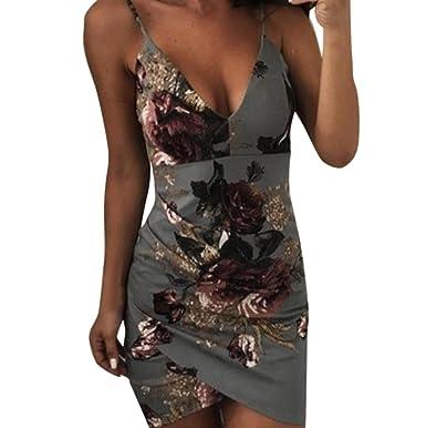 72bb656175d AmyDong Hot Sale! Ladies Dress Women's V-Neck Sleeveless Casual Loose Mini  Dress Straps