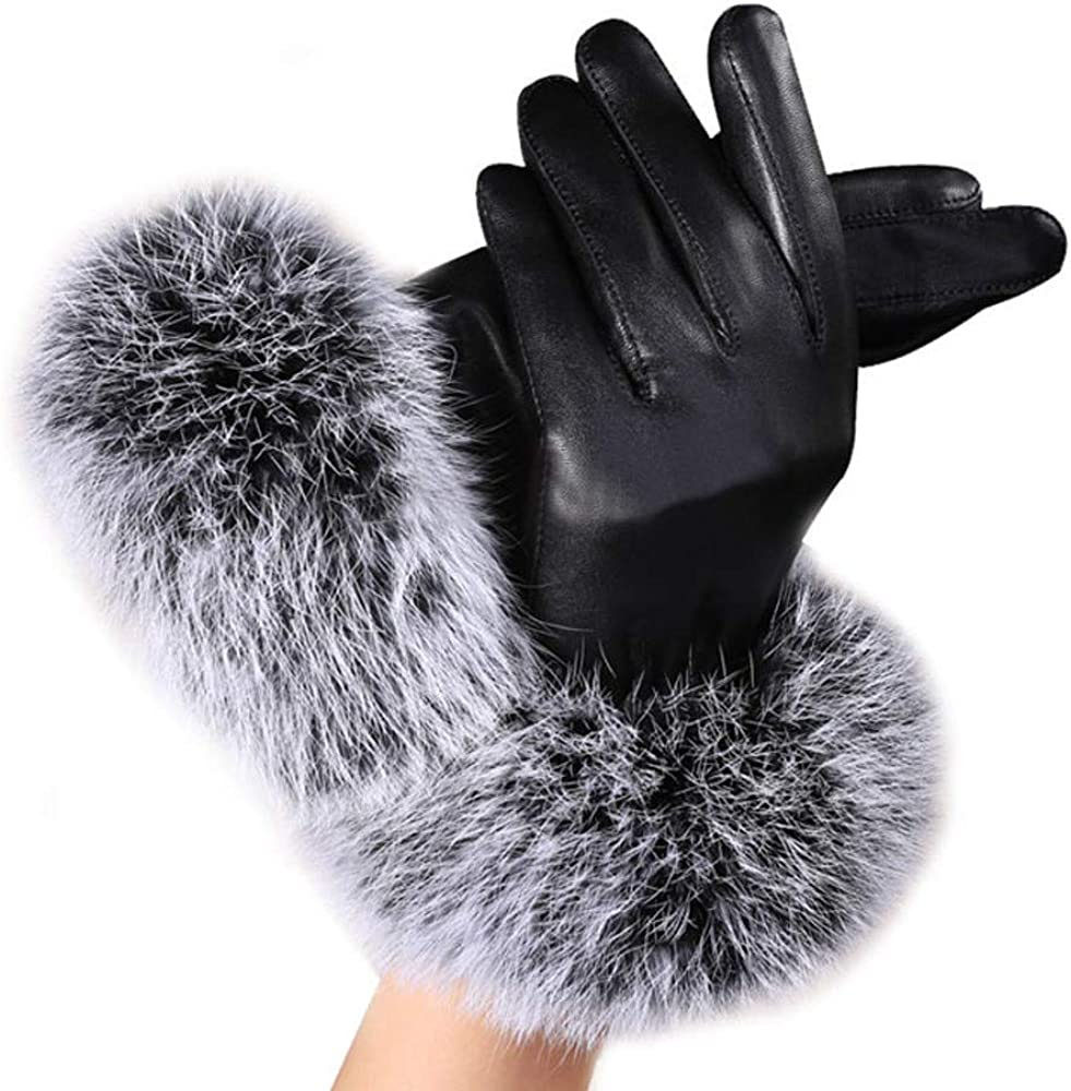 Swyss Women's Leather Dressy Gloves Faux Rabbit Fur Trim Cuff Thermal Lining Mittens