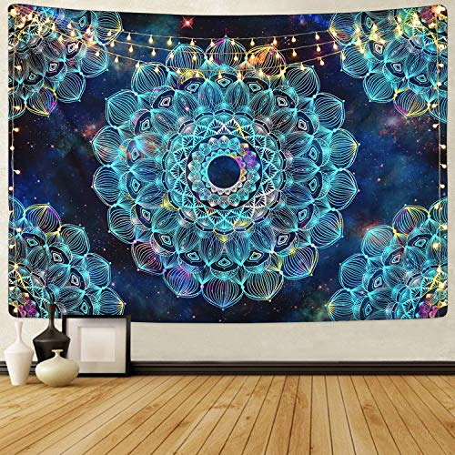 Sevenstars Fantasy Mandala Tapestry Hippie Bohemian Tapestry Blue Floral Tapestry Mysterious Flower Tapestry for Room