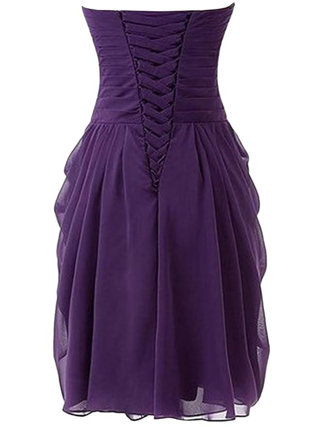 ASVOGUE Mujer Vestidos Fiesta Gasa Asimétrico Envuelva con Volantes, Púrpura Profundo L: Amazon.es: Ropa y accesorios