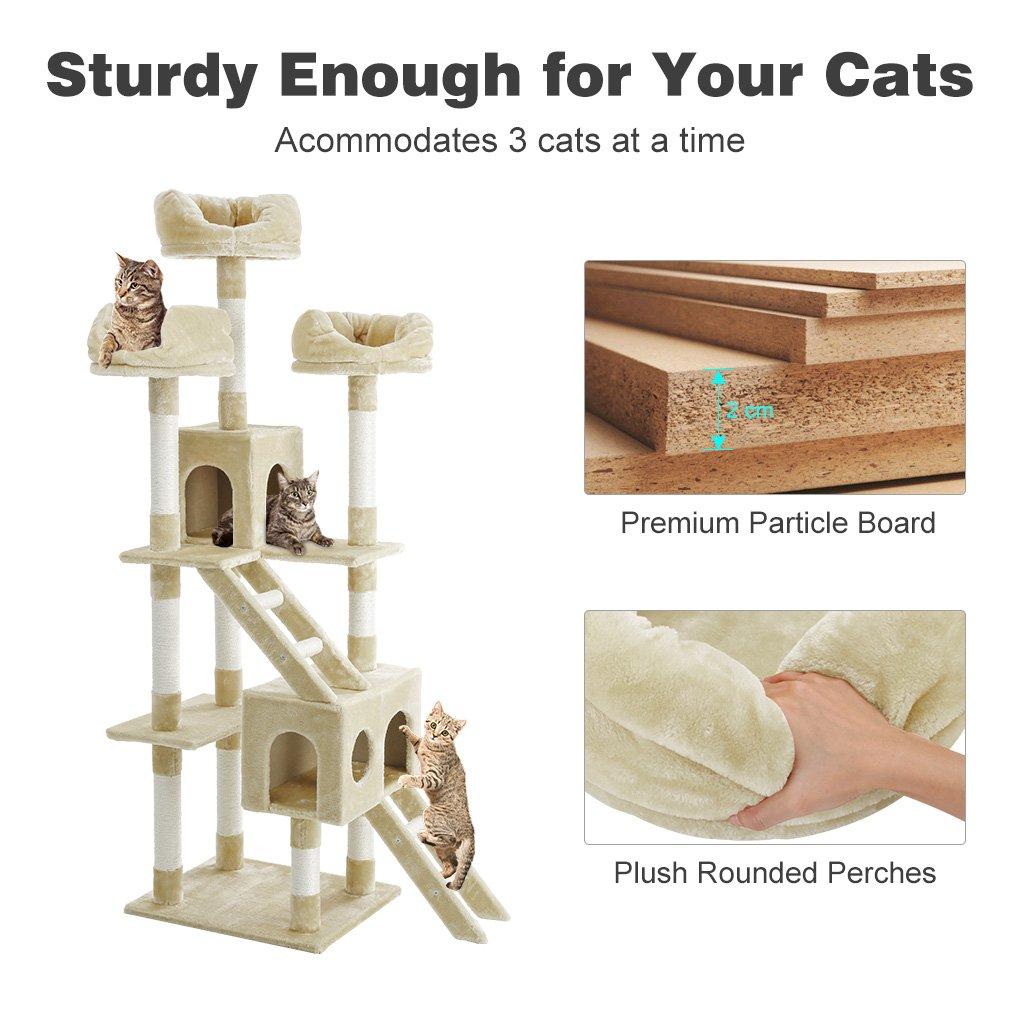 Finether-Rascador para Gato Árbol de Gato Plataforma para Gato Casita de Gato, de Sisal Natural, con Columnas, Color Beige, 181cm: Amazon.es: Productos para ...