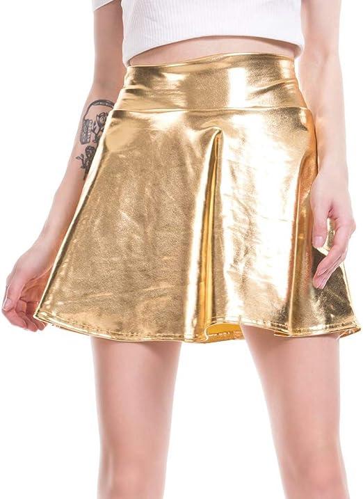 YO-HAPPY Minifalda Reflectante de Cintura Alta, Falda de Discoteca ...