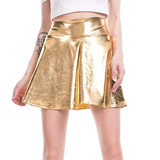 Vxhohdoxs - Mini falda de piel sintética para mujer con cintura ...