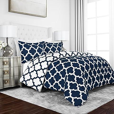 Sleep Restoration Luxury Goose Down Alternative Reversible Quatrefoil Comforter - Premium Hypoallergenic All Season Duvet - Twin/Twin XL - - Blue Reversible Comforter
