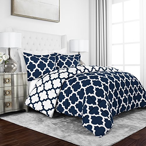 Sleep Restoration Luxury Goose Down Alternative Reversible Quatrefoil Comforter - Premium Hypoallergenic All Season Duvet - Full/Queen - Navy