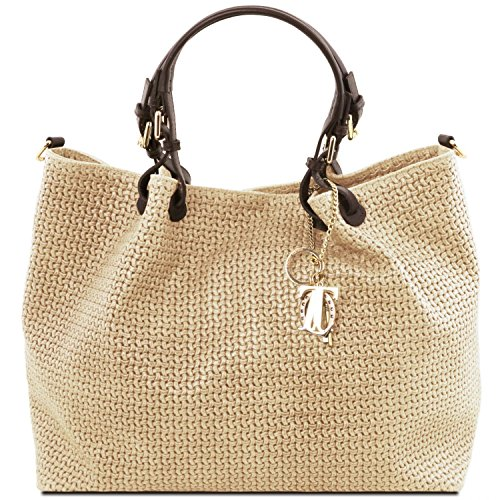 Tuscany Leather TL KeyLuck Borsa shopping TL SMART in pelle stampa intrecciata - Misura Grande Nero Beige