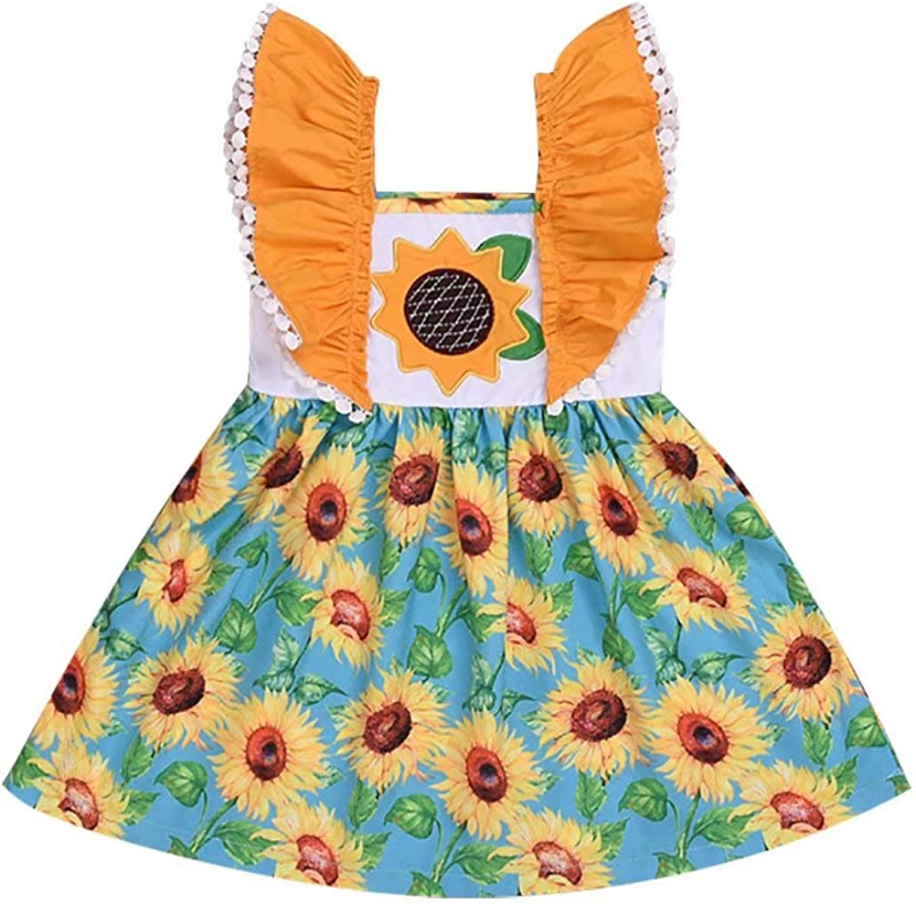 SUPEYA Toddler Baby Girls Summer Dress Ruffle Strap Sunflower Print Tutu Skirt Sunsuit