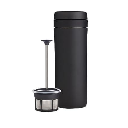 Espro® Travel Press con Filtro de café, Acero Inoxidable, Negro, 7.2 x 7.2 x 20.4 cm