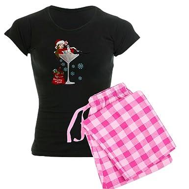 abf8e2e758f Amazon.com  CafePress-Santa Girl Martini Women s Dark Pajamas-Womens ...