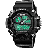 Mens Analog Digital Dual Display Sports Watches Military Multifunctional 50M Waterproof LED Watch with Alarm Stopwatch Backli