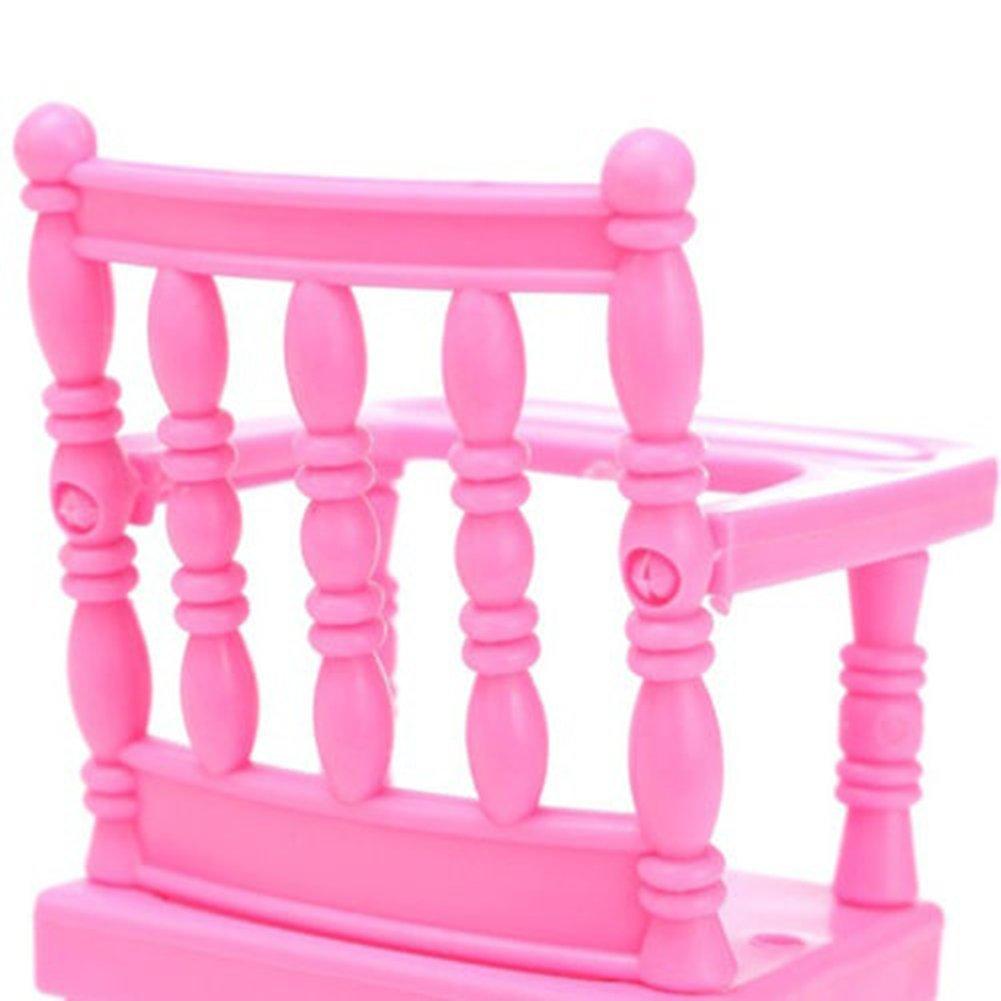 MAJGLGE assemblato Alta Sedia da Pranzo per Barbie Doll Toy House Kids Bambole/ /Rosa