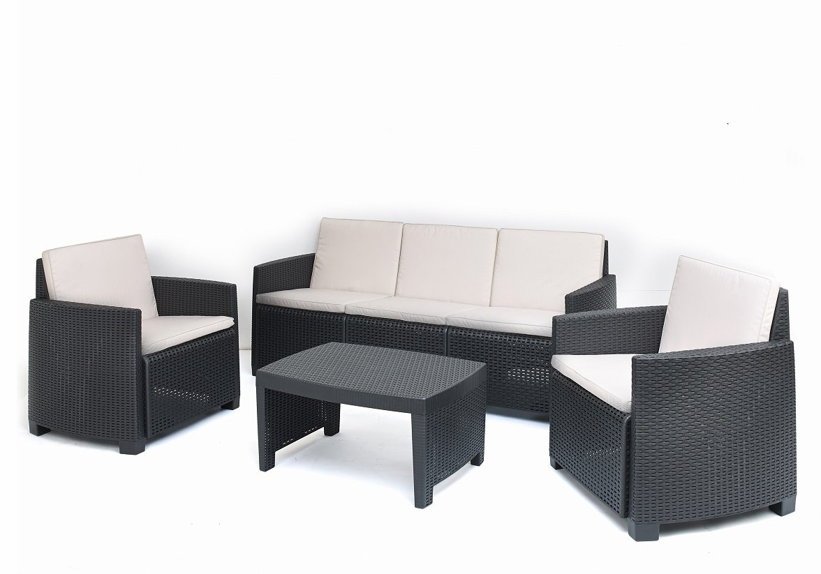 Kunststoff Lounge Stromboli in Rattan Optik inkl. Auflagen von IPAE Progarden, MADE IN EUROPE
