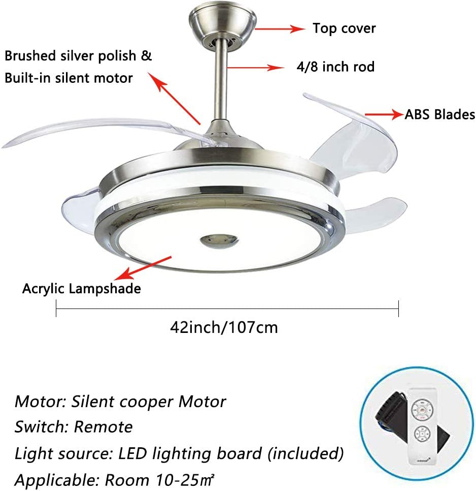 42 Ceiling Fan Light Led Integration Three Color Light With Remote Control Speed Adjustment Abs Invisible Blade For Living Room Bedroom Restaurant 42 2 Amazon Co Uk Lighting