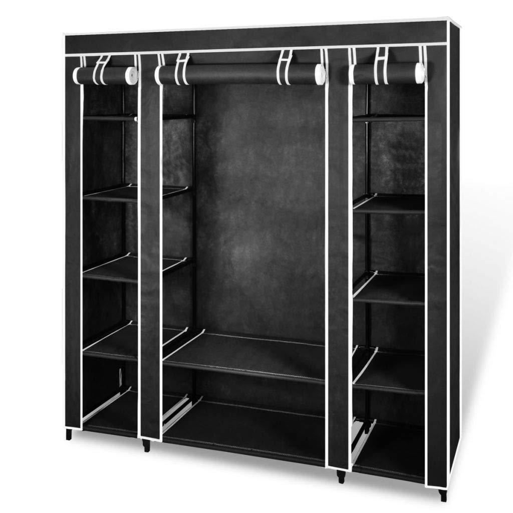 vidaXL Fabric Wardrobe with Compartments and Rods 17.7''x59''x69'' Black/Brown (Black)