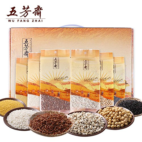 China Good Food Chinese Rice(五芳斋 五谷杂粮2565g{礼盒装} Whole grains)Raw material五芳齋 红米/黑米/糯米/薏仁米/黄小米/黄豆 by China Good Food