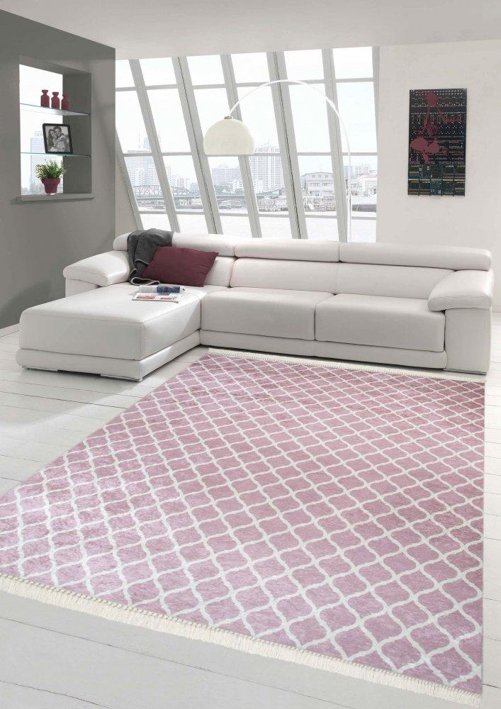 Merinos Print Teppich Design Wohnzimmerteppich modern Retro waschbar in Rosa Creme Größe 140x200 cm Oval