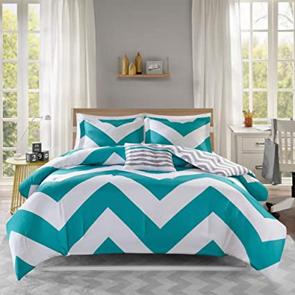 Amazon Com Adorable 4pc Teal Gray And White Reversible Chevron Full