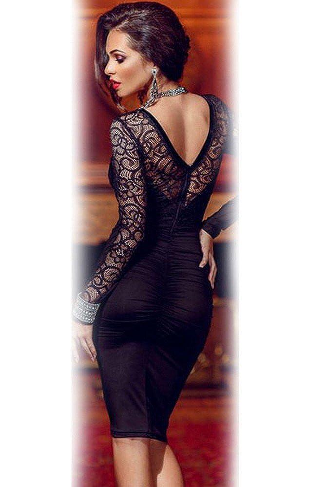 emmarcon Mini Abito da Donna Cerimonia Pizzo Cocktail Dress Party Vestito Vestitino Tubino Casual