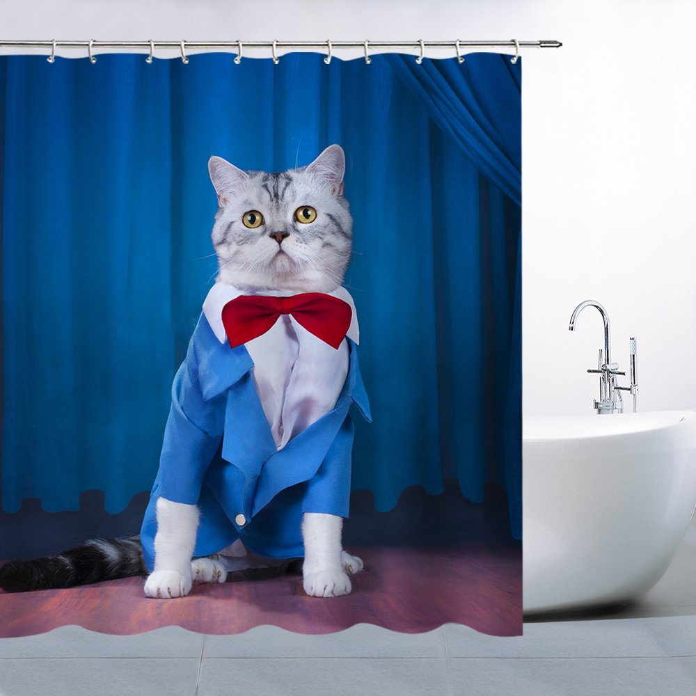 Cute Cat Wearing Blue Dance Clothes With Bow Tie Decor Shower Curtain Fun Animal Kitten Pet Picture Stage Show,70x70 Inches Waterproof Polyester Fabric Bathroom Accessories Curtains With 12pcs Hooks
