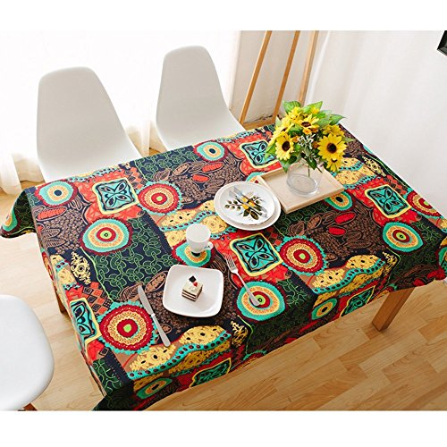 Table Cover, Lemon Hour Rectangle Dining Room Modern Tablecloth with Cotton Linen Lace, Colorful Flower Style Dust-proof Table Cloth for Kitchen Living Party Decorative, 90 x 140 Cm/ 36 x 55 Inch (Colorful Coffee Tables)