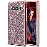 HoneyAKE Galaxy Note 8 Case Glitter Bling Rhinestone Sparkle Diamond Crystal Heavy Duty Shockproof Hybrid Hard Cover Soft Bumper Protective Phone Case for Galaxy Note 8(Rose Gold)