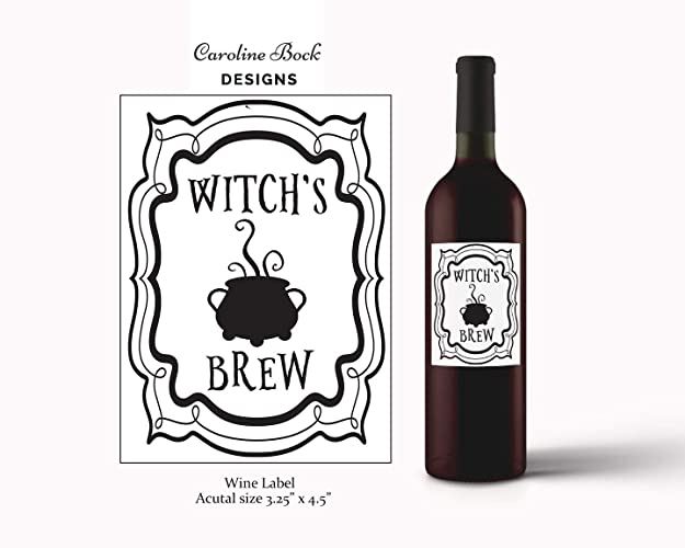 Amazon.com: Witchu0027s Brew Halloween Wine Label: Handmade