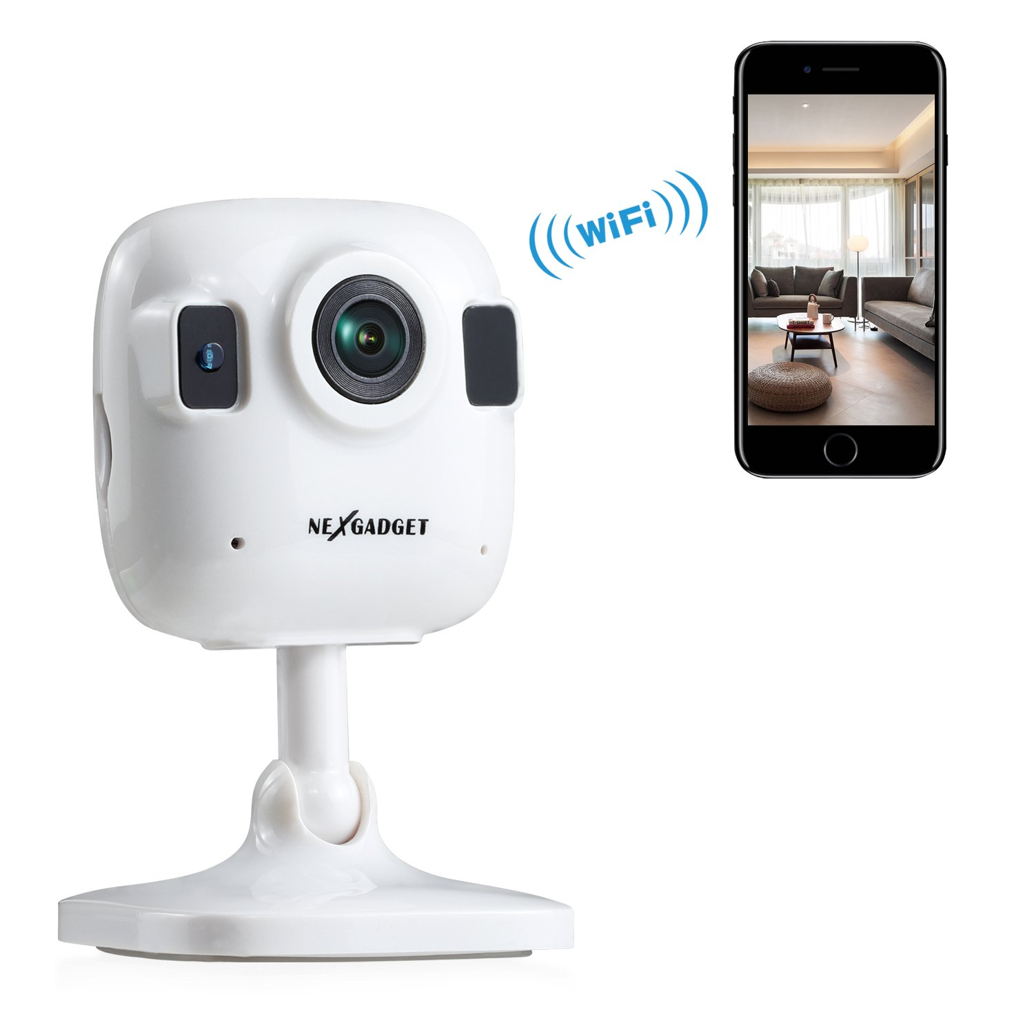 NEXGADGET 720P Wireless IP Security Mini Camera Home Video Monitoring Camera with Night Vision,Two-Way Audio,Motion Detection