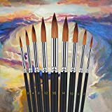 Art Paint Brushes Set 9pcs Round Watercolor Professional Painting Kits Acrylic Oil Painting Brush (black) by foxmum