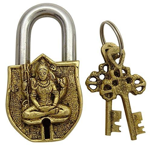 Decorative Brass Metal Lord Shiva Design Padlock Handcrafted Locks Home Decor