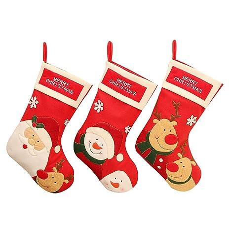 Toyvian 3 UNIDS Navidad Dulces Calcetines Titulares, Trato Bolsa Goodie Bolsa, Decoraciones de la