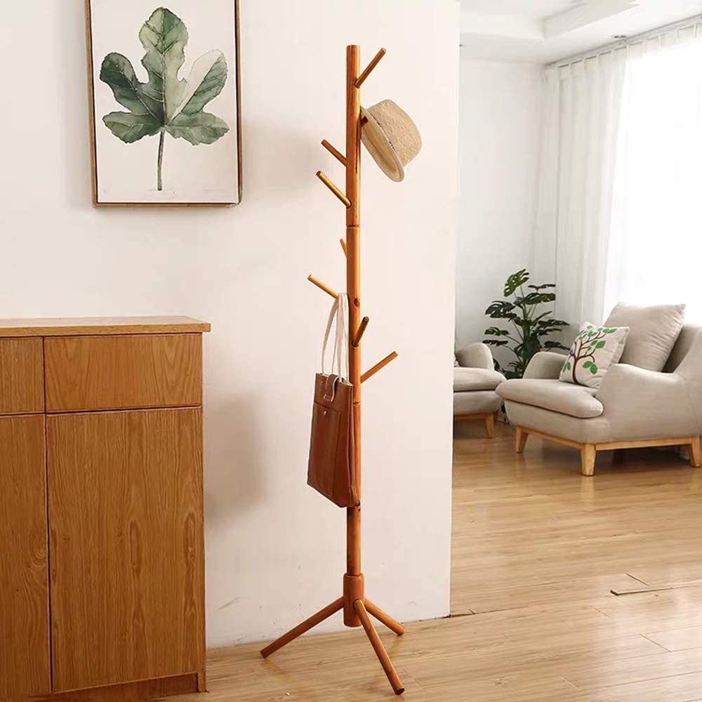 Bamboo Coat Rack Tree with 8 Hooks, Free Standing Wooden Coat Rack, Entryway Coat Hanger Stand, Easy Assembly Hallway Entryway Tree with Solid Base for Hat, Clothes, Scarves, Handbags, Umbrella