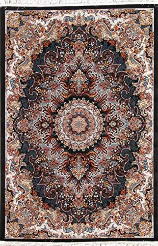 Rug Source New Hereke Floral Machine Made 5x7 Black Wool/Acrylic Heat-Set Oriental Area Rug (7' 0