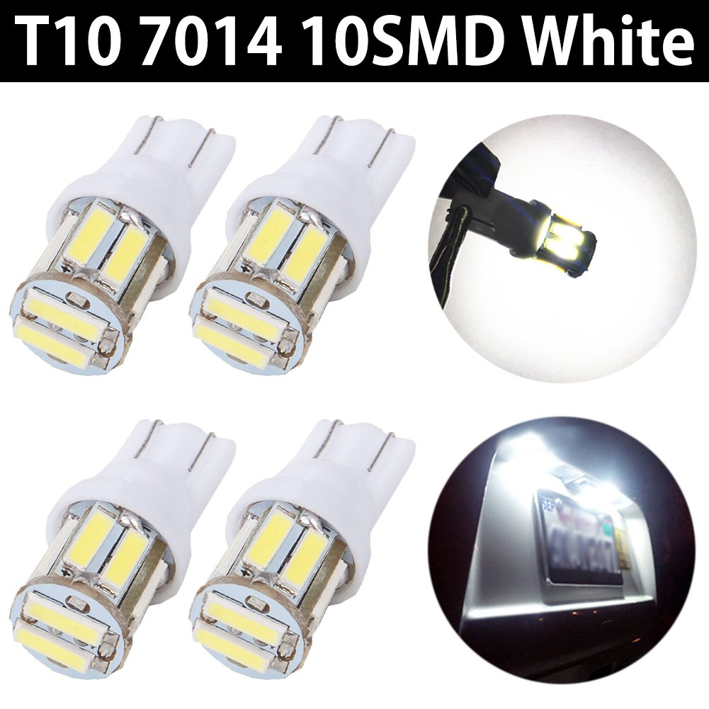 TABEN 10pcs Ultra Bright 350 Lumens White T10 194 192 168 175 921 W5W 2825 7014 10-SMD LED Interior Lights Bulb Car Replacement Lights Car Truck License Plate SideMarker Light Dome Map LED Bulbs 12V
