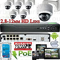 USG Sony DSP 6 Camera Motorized Lens Remote Zoom & Auto-Focus IP PoE Security System CCTV Kit 6x 1080p 2mp 2.8-12mm Dome Cameras + 1x 8 Channel 1080P PoE NVR + 1x 4TB HDD FREE PHONE APP