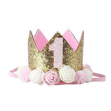 Amazon.com: 5 piezas bebé 1st fiesta de cumpleaños rosa ...
