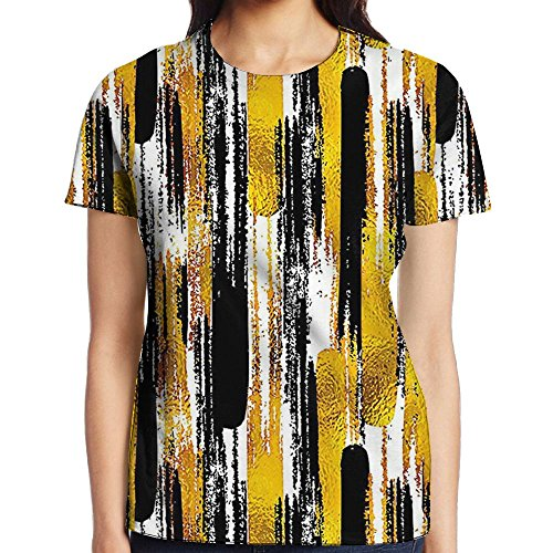 WuLion Grunge Brushstroke Expressionist Background with Paint Effects Design Women's 3D Print T Shirt M White