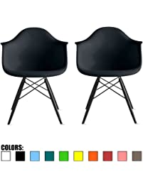 2xhome   Set Of 2 Black Eames Style Dining Room Chairs Armchairs   Black  Wooden Legs